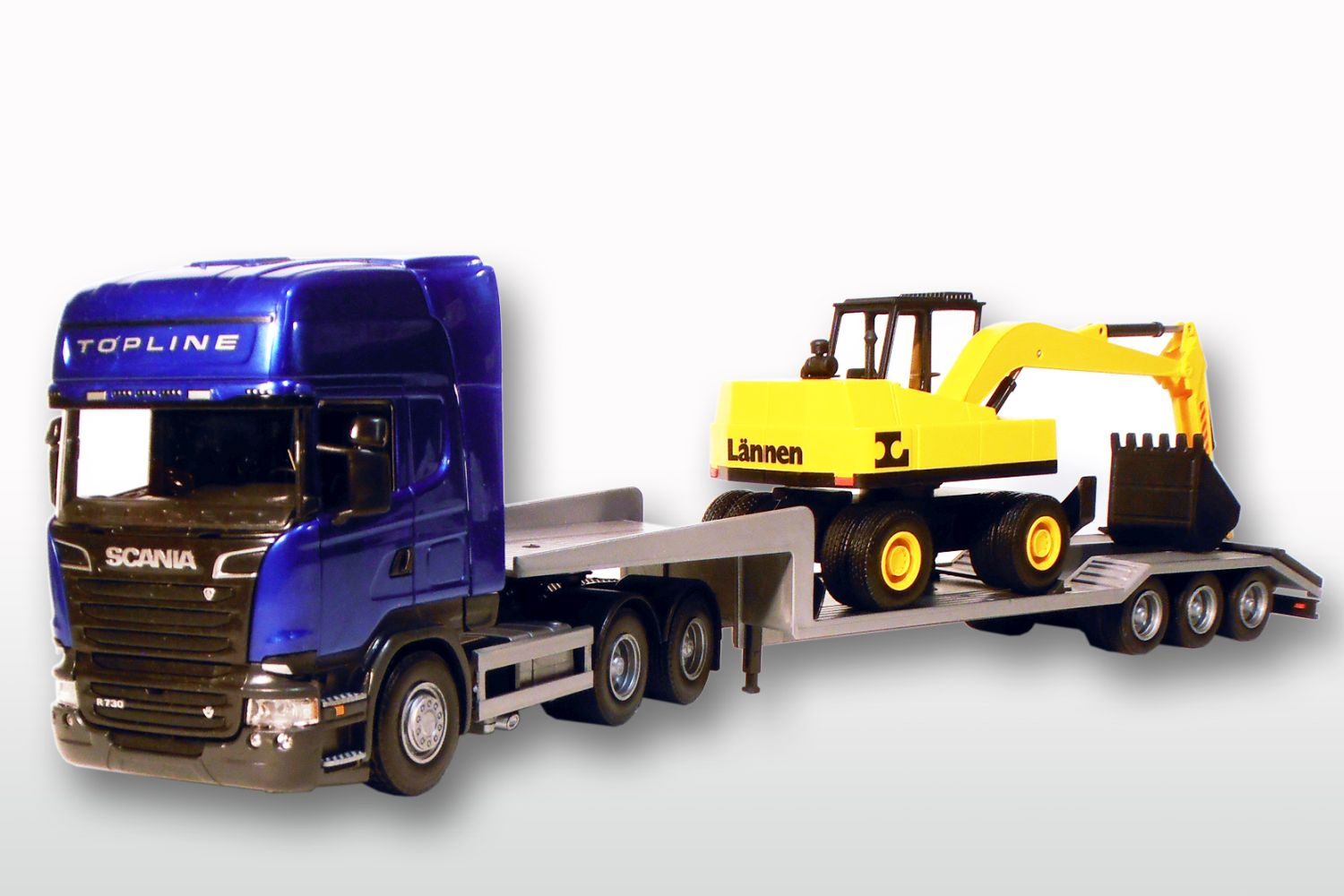 Scania Streamline TL met 3-As Dieplader en Shovel - Blauw